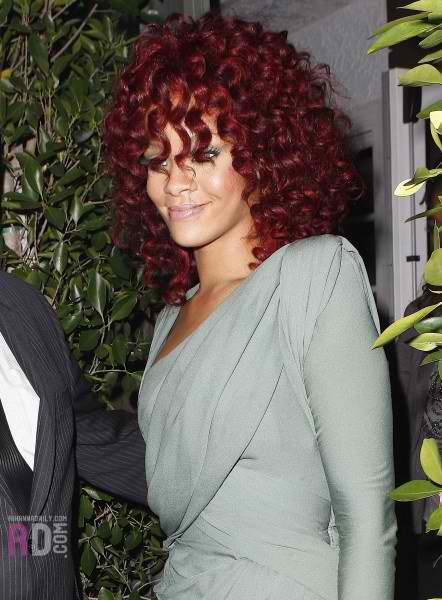 rihanna red hair curly hair. Rihanna#39;s Red Hot Curly Locks